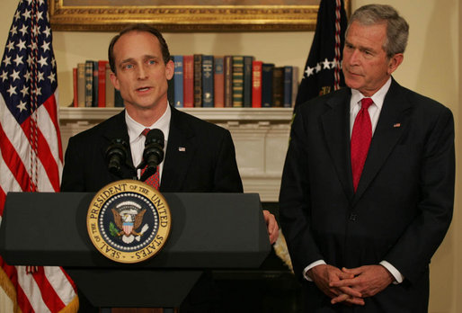 """President George W. Bush listens as Steve Preston, the President's nominee for Secretary of Housing and Urban Development, makes remarks during the announcement Friday, April 18, 2008, in the Roosevelt Room of the White House. Acknowledging the President's nomination, Mr. Preston said, """"As we help people pursue the American Dream, we need to have a market to operate fairly and effectively for all Americans. And our solutions must restore confidence in our markets, while not erecting barriers to future entrepreneurs, investors and home buyers."""" White House photo by Shealah Craighead"""