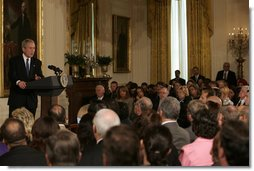 """President George W. Bush speaks to representatives from the Small Business Administration's National Small Business Week Conference Wednesday, April 23, 2008, in the East Room of the White House. The President told his audience, """"I love it when people can say, I have a idea, and I am going to apply all my talent and all my effort to see the idea come to fruition. It is what made us great in the past, it's what makes us great today, and what is going to make us great in the future."""" White House photo by Patrick Tierney"""