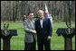 President George W. Bush shakes hands with South Korean President Lee Myung-bak at the conclusion of a joint press availability Saturday, April 19, 2008, at the Presidential retreat at Camp David, Md. White House photo by Shealah Craighead