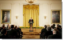 President George W. Bush addresses invited guests Monday evening, April 14, 2008 to the East Room of the White House, during a reception in honor of the 265th birthday of former President Thomas Jefferson.  White House photo by Chris Greenberg