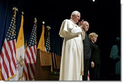 """Pope Benedict XVI is joined by Vice President Dick Cheney and Mrs. Lynne Cheney for a farewell ceremony in honor of the Pope, Sunday, April 20, 2008 at John F. Kennedy International Airport in New York. During the ceremony the Vice President said, """"Your presence has honored our country. Although you must leave us now, your words and the memory of this week will stay with us. For that, we are truly and humbly grateful.""""  White House photo by David Bohrer"""