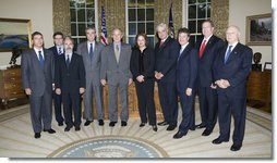 """President George W. Bush meets with Co-Chairs of the U.S. Brazil CEO Forum Monday, April 28, 2008, in the Oval Office. Said the President afterwards, """"It is my honor to welcome the U.S.-Brazil CEO Forum here to Washington. It's an indication of the importance that we both place on our bilateral relations. Brazil is a very powerful, very important country in our neighborhood, and it's really important for this administration and future administrations to work closely with the Brazilian government, like it is important for our respective business communities to work closely together."""" White House photo by Chris Greenberg"""