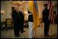President George W. Bush and Ukraine President Viktor Yushchenko wait for the start of a press availability during Mr. Yushchenko's visit Monday, April 4, 2005, to the White House.White House photo by Eric Draper