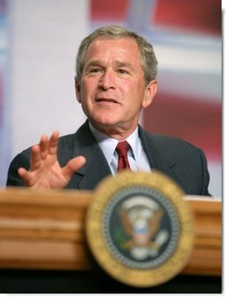 """President George W. Bush leads the discussion during a roundtable meeting on Strengthening Social Security at the University of Texas Medical Branch in Galveston, Texas, Tuesday, April 26, 2005. """"If you've retired, if you were born prior to 1950, the system will take care of you,"""" said the President.  White House photo by Eric Draper"""