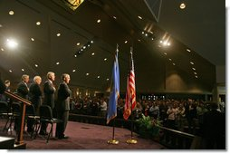 Vice President Dick Cheney attends the Day of Remembrance ceremony commemorating the 10th anniversary of the bombing of the Alfred P. Murrah Federal Building in Oklahoma City, Okla., April 19, 2005. At 9:02 a.m., Vice President Cheney and former President Bill Clinton joined victims of the bombing in 168 seconds of silence in remembrance of the 168 people killed 10 years ago. Pictured on stage, from left, are Frank Hill, chairman of the Oklahoma City National Memorial Foundation, former President Bill Clinton, Vice President Dick Cheney, and Oklahoma Governor Brad Henry.  White House photo by David Bohrer