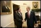 President George W. Bush hosts a visit by Panamanian President Martin Torrijos in the Oval Office Thursday, April 28, 2005. White House photo by Eric Draper