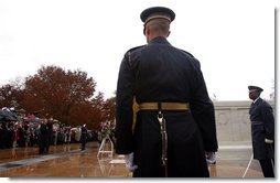 The President takes part in a wreath laying ceremony to commemorate Veterans Day at Arlington National Cemetery on Monday November 11, 2002  White House photo by Paul Morse