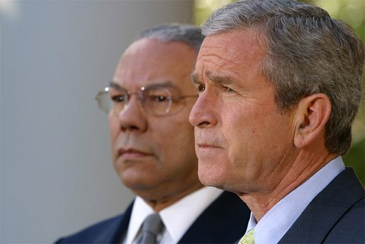 """President George W. Bush discusses the unanimous passage of the U.N. Resolution regarding Iraq in the Rose Garden, Friday, Nov. 8. """".the United Nations Security Council has met important responsibilities, upheld its principles and given clear and fair notice that Saddam Hussein must fully disclose and destroy his weapons of mass destruction. He must submit to any and all methods to verify his compliance,"""" said the President. """"His cooperation must be prompt and unconditional, or he will face the severest consequences."""" White House photo by Paul Morse."""