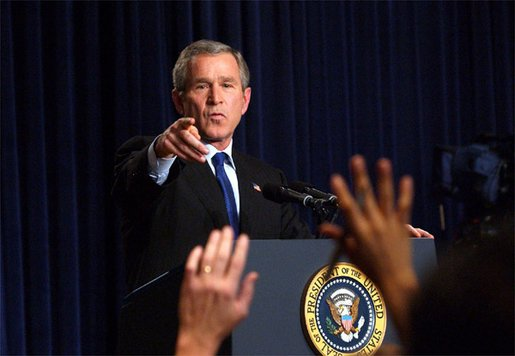 President George W. Bush holds a press conference in the Dwight D. Eisenhower Executive Office Building Nov. 7. White House photo by Eric Draper