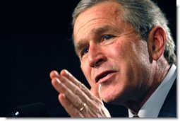 President George W. Bush speaks at the Illinois Welcome at the Illinois Police Armory in Springfield, Illinois, Sunday, Nov. 3, 2002  White House photo by Eric Draper