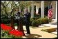 President George W. Bush and Prime Minister Tony Blair hold a press conference in the Rose Garden of the White House on April 16, 2004. White House photo by Paul Morse.