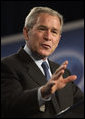 """President George W. Bush speaks on free trade policy during a visit Friday, Oct. 12, 2007, to Miami. The President told his audience: """"Congress now has an opportunity to build on the success by passing new free trade agreements with Peru, Colombia, and Panama. Today, all three of these countries enjoy duty-free access to U.S. markets for virtually all their products. They're shipping their goods our way, and most of those products enter America duty free. Yet when we ship our products their way, most of our products face significant tariffs. Our free trade agreements would knock down many of these barriers -- and level the playing field for our businesses and farmers and workers."""" White House photo by Eric Draper"""