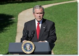 "President George W. Bush discusses the Foreign Intelligence Surveillance Act legislation Wednesday, Oct. 10, 2007, on the South Lawn. ""Today, the House Intelligence and Judiciary Committees are considering a proposed bill that instead of making the Protect America Act permanent would take us backward. While the House bill is not final, my administration has serious concerns about some of its provisions, and I am hopeful that the deficiencies in the bill can be fixed."" White House photo by Chris Greenberg"