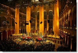 The view onstage at the National Building Museum in Washington Sunday, Dec. 11, 2005, during the 24th Annual Christmas in Washington. More than 800 guests, including President George W. Bush and Laura Bush, attended the show which benefits the Children's National Medical Center.  White House photo by Shealah Craighead
