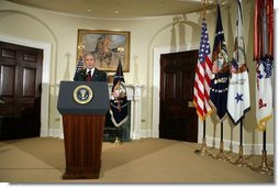 President George W. Bush delivers live radio address from the Roosevelt Room in the White House, Saturday, December 17, 2005.  White House photo by Kimberlee Hewitt