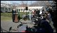 """President George W. Bush speaks to reporters on the South Lawn of the White House Wednesday, Dec. 21, 2005, before boarding Marine One for Maryland. Urging Senate to reauthorize the Patriot Act and pass the defense bill, the President said, """"There is an enemy that lurks, a dangerous group of people that want to do harm to the American people. and we must have the tools necessary to protect the American people. """" White House photo by Kimberlee Hewitt"""