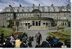 President George W. Bush delivers a brief statement to the media outside the Gleneagles Hotel in Auchterarder, Scotland Thursday, July 7, 2005, regarding the terrorist attacks in London that occured earlier in the day.  White House photo by Eric Draper
