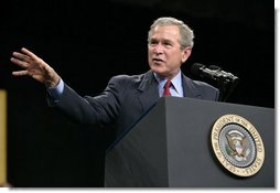 President George W. Bush delivers remarks on CAFTA-DR at Gaston College in Dallas, N.C., Friday, July 15, 2005.  White House photo by Eric Draper