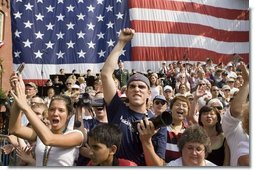 An estimated 3,000 celebrated Independence Day Monday, July 4, 2005, by cheering on President George W. Bush as he spoke at West Virginia University in Morgantown.  White House photo by Krisanne Johnson