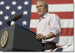 """President George W. Bush speaks to an Independence Day crowd in Morgantown, W.Va., Monday, Jul 4, 2005. The President told the estimated 3,000 people at West Virginia University that """"the revolutionary truths of the Declaration are still at the heart of America.""""  White House photo by Krisanne Johnson"""