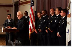 Vice President Dick Cheney and Attorney General Alberto Gonzales address recipients of the 2005 Public Safety Officer Medal of Valor Award and guests during a ceremony in the Dwight D. Eisenhower Executive Office Building Thursday, July 14, 2005. The Medal of Valor is awarded to public safety officers cited by the Attorney General for extraordinary courage above and beyond the call of duty. White House photo by David Bohrer