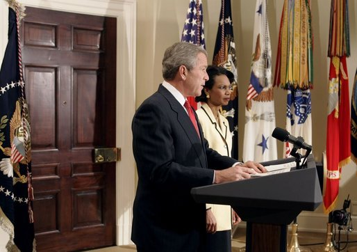 """President George W. Bush announces his nomination of National Security Advisor Dr. Condoleezza Rice as Secretary of State in the Roosevelt Room Tuesday, Nov. 16, 2004. """"She's a recognized expert in international affairs, a distinguished teacher and academic leader, and a public servant with years of White House experience,"""" said the President. White House photo by Paul Morse."""