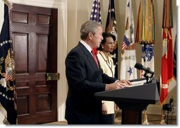 """President George W. Bush announces his nomination of National Security Advisor Dr. Condoleezza Rice as Secretary of State in the Roosevelt Room Tuesday, Nov. 16, 2004. """"She's a recognized expert in international affairs, a distinguished teacher and academic leader, and a public servant with years of White House experience,"""" said the President.  White House photo by Paul Morse"""