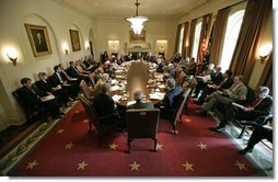 President George W. Bush meets with his Cabinet in the Cabinet Room Thursday, June 1, 2006. Among subjects discussed was the war on terror, the hurricane season, immigration and the strength of the economy. White House photo by Eric Draper