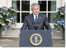 """President George W. Bush delivers a statement regarding the death of terrorist al Zarqawi, an al Qaeda leader in Iraq, in the Rose Garden Thursday, June 8, 2006. """"Last night in Iraq, United States military forces killed the terrorist al Zarqawi,"""" said the President. """"At 6:15 p.m. Baghdad time, special operation forces, acting on tips and intelligence from Iraqis, confirmed Zarqawi's location, and delivered justice to the most wanted terrorist in Iraq."""" White House photo by Kimberlee Hewitt"""