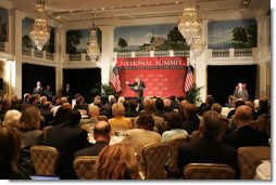 President George W. Bush addresses the Initiative for Global Development's 2006 National Summit in Washington, D.C., Thursday, June 15, 2006. A partnership between business and civic leaders, the initiative works to reduce global poverty.  White House photo by Kimberlee Hewitt