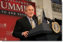 """President George W. Bush addresses the Initiative for Global Development's 2006 National Summit in Washington, D.C., Thursday, June 15, 2006. A partnership between business and civic leaders, the initiative works to reduce global poverty. """"The facts are these: Across the globe, more than a billion people live on less than a dollar a day. That should be a troubling statistic to all Americans,"""" said the President. """"They lead lives of hunger, they lead lives of desperation. Every day is a struggle just to survive. That struggle ought to inspire us here in America. It's inspired you. It ought to inspire all our citizens."""" White House photo by Kimberlee Hewitt"""