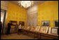 Mrs. Laura Bush is given a tour of one of the gallery rooms at the Albertina Museum in Vienna, Austria, Wednesday, June 21, 2006, by Dr. Klaus Schroeder, director of the museum. White House photo by Shealah Craighead