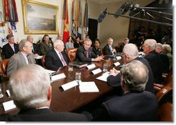 President George W. Bush, is joined by Vice President Dick Cheney, Defense Secretary Donald Rumsfeld, left, and Secretary of State Condoleezza Rice, right, as he addresses members of the Iraq Study Group Wednesday, June 14, 2006 in the Roosevelt Room at the White House, thanking the bipartisan group for their willingness to provide advice to the administration on Iraq. White House photo by Kimberlee Hewitt
