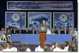 """President George W. Bush delivers the commencement address during the graduation ceremony at the United States Merchant Marine Academy at Kings Point, New York, Monday, June 19, 2006. """"America has invested in you, and she has high expectations,"""" said President Bush. """"My call to you is this: Trust your instincts, and use the skills you were taught here to give back to your nation. Do not be afraid of mistakes; learn from them. Show leadership and character in whatever you do. The world lies before you. I ask you to go forth with faith in America, and confidence in the eternal promise of liberty."""" White House photo by Kimberlee Hewitt"""