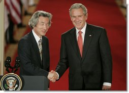 President George W. Bush shakes hands with Japan's Prime Minister Junichiro Koizumi at the conclusion of their joint press availability Thursday, June 29, 2006, in the East Room of the White House. White House photo by Paul Morse