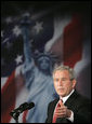 """President George W. Bush delivers remarks Thursday, June 1, 2006, on Comprehensive Immigration Reform during an appearance at the United States Chamber of Commerce. Said the President, """"America can be a lawful society and America can be a welcoming society at the same time."""" White House photo by Paul Morse"""