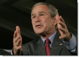 President George W. Bush gestures as he addresses an audience Tuesday, June 27, 2006 in Washington, calling on the U.S. Senate and members of the House of Representatives to quickly pass proposed Line-Item Veto legislation.  White House photo by Paul Morse