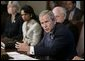 President George W. Bush addresses members of his cabinet, Tuesday, Sept. 6, 2005, in the Cabinet Room at the White House. Vice President Dick Cheney, Secretary of State Condoleezza Rice and Secretary of Interior Gale Norton, are seen in background. White House photo by Eric Draper