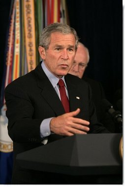 "President George W. Bush delivers a statement Thursday, Sept. 22, 2005, on the War on Terror during a visit to the Pentagon. Said the President, "" The only way the terrorists can win is if we lose our nerve and abandon the mission. For the security of the American people, that's not going to happen on my watch.""  White House photo by Shealah Craighead"