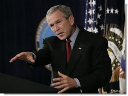 President George W. Bush gestures as he delivers a statement Thursday, Sept. 22, 2005, on the War on Terror during a visit to the Pentagon. President Bush also thanked the leadership of the Pentagon for their help in the aftermath of Hurricane Katrina.  White House photo by Eric Draper
