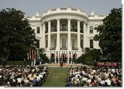 President George W. Bush addresses guests on the South Lawn of the White House, Friday, Sept. 9, 2005, during the 9/11 Heroes Medal of Valor Award Ceremony and to honor the courage and commitment of emergency services personnel who died on Sept. 11, 2001.  White House photo by Paul Morse
