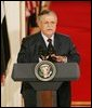 """President Jalal Talabani of Iraq, speaks to the media during a joint press availability Tuesday, Sept. 13, 2005, in the East Room of the White House. """"It is an honor for me to stand here today as a representative of free Iraq,"""" the President said. """"It is an honor to present the world's youngest democracy."""" White House photo by Shealah Craighead"""