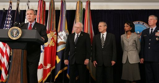 Standing with President Bush as he delivers a statement Thursday, Sept. 22, 2005, at the Pentagon on the War on Terror are: Vice President Dick Cheney; Secretary of Defense Donald Rumsfeld; Secretary of State Condoleezza Rice and General Richard Myers, Chairman of the Joint Chiefs of Staff. White House photo by Shealah Craighead