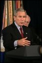 """President George W. Bush delivers a statement Thursday, Sept. 22, 2005, on the War on Terror during a visit to the Pentagon. Said the President, """" The only way the terrorists can win is if we lose our nerve and abandon the mission. For the security of the American people, that's not going to happen on my watch."""" White House photo by Shealah Craighead"""