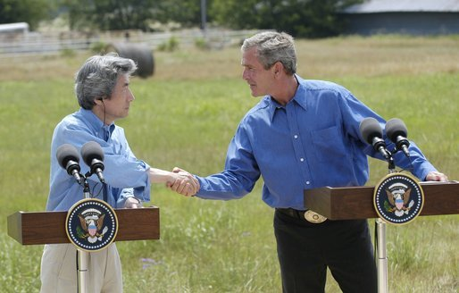 President George W. Bush and Japanese Prime Minister Junichiro Koizumi shake hands before beginning a news conference at the President's ranch near Crawford, Texas, Friday morning, May 23, 2003. White House photo by Eric Draper