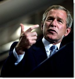 """""""Let's get tax relief to the American people as quickly as possible,"""" said President George W. Bush emphasizing the need for tax relief during his remarks at Airlite Plastics in Omaha, Neb., Monday, May 12, 2003.   White House photo by Susan Sterner"""