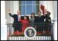 At the end of the ceremony, President Bush, Mrs. Bush, President Arroyo and Mr. Arroyo wave from the Truman Balcony. White House photo by Eric Draper