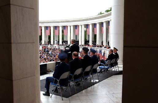 President George W. Bush gives a Memorial Day address at Arlington National Cemetery. Monday, May 26, 2003. White House photo by Tina Hager.