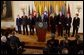 """President George W. Bush addresses the Central European Foreign Ministers in the East Room May 8, 2003. """"Just hours ago, the United States Senate voted unanimously to support NATO admission for Bulgaria, Estonia, Latvia, Lithuania, Romania, Slovakia and Slovenia,"""" explained President Bush. """"These heroic nations have survived tyranny, they have won their liberty and earned their place among free nations. America has always considered them friends, and we will always be proud to call them allies."""" White House photo by Tina Hager."""