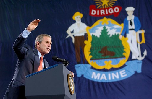 President George W. Bush speaks during the Maine Welcome in Bangor, Maine, Tuesday, Oct. 22. White House photo by Eric Draper.